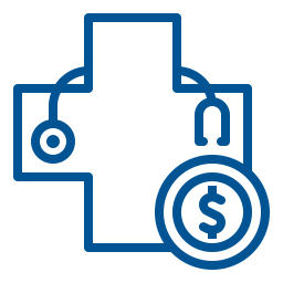 Health symbol with stethoscope and coin icon