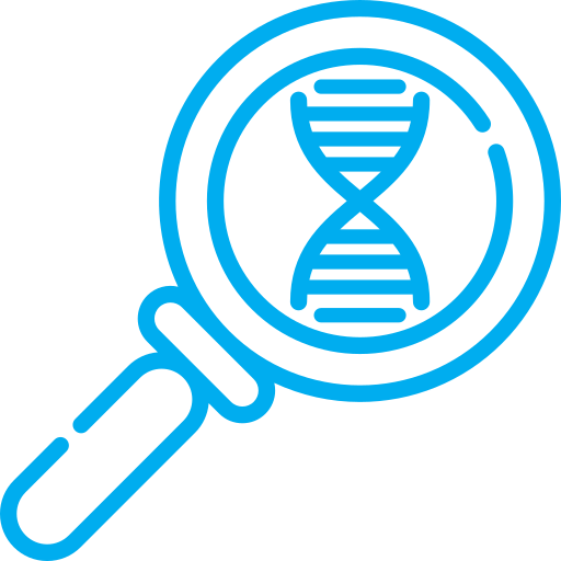 DNA through magnifying glass icon