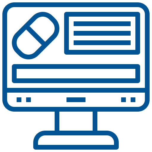 Computer showing pill icon