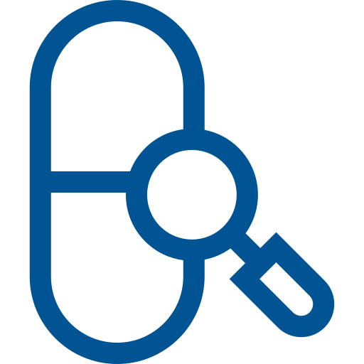 pill and magnifying glass icon